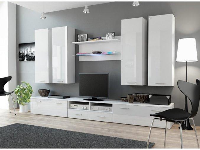 Elegantní nábytek do obýváku DREAM 3A Bílý / Bílý lesk