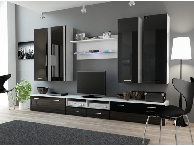 Luxusní nábytek do obýváku DREAM 3B Bílý / Černý lesk
