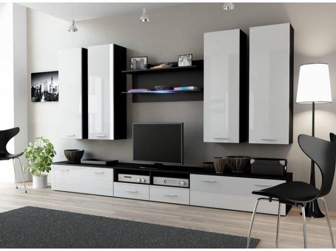Moderní obývací stěna DREAM 3C Černá / Bílý lesk