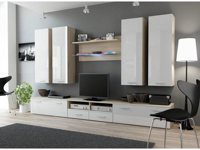 Moderní obývací stěna DREAM 3E Dub Sonoma / Bílý lesk