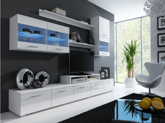 Elegantní obývací stěna JESSIE 2 Bílá / Bílý lesk