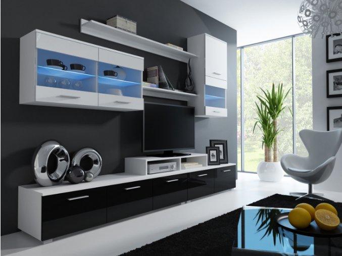 Luxusní obývací stěna LOGO 2A Bílá / Černý lesk