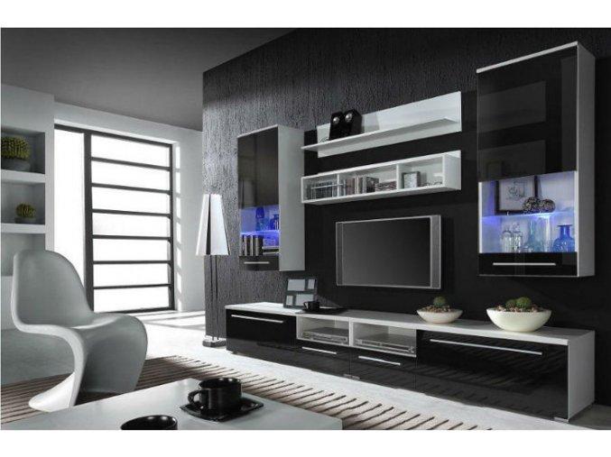 Luxusní obývací stěna LUNA A Bílá / Černý lesk