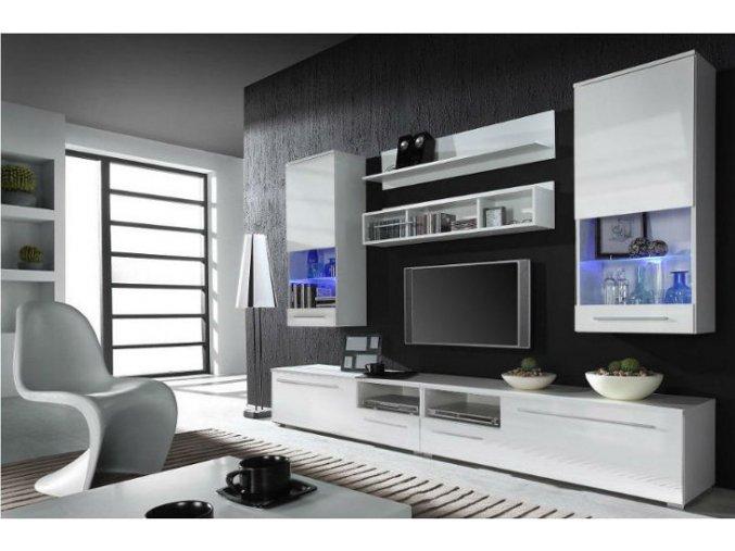 Elegantní obývací stěna LUNA B Bílá / Bílý lesk