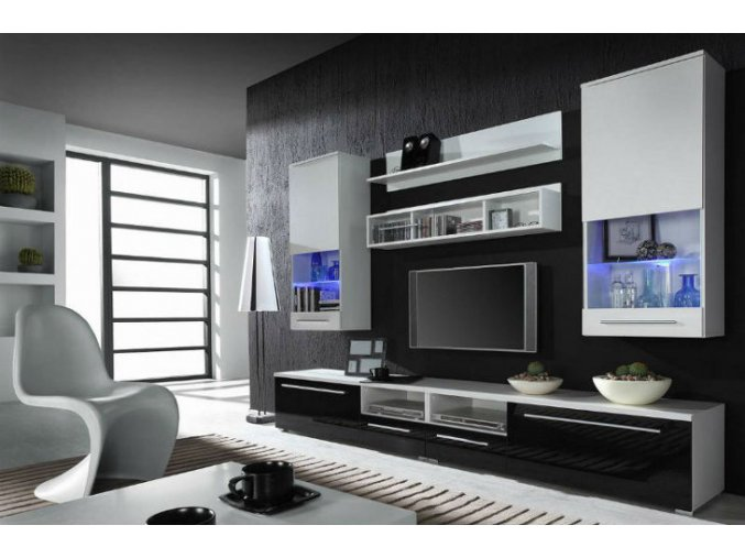 Moderní obývací stěna LUNA C Bílá / Černý lesk+Bílý lesk