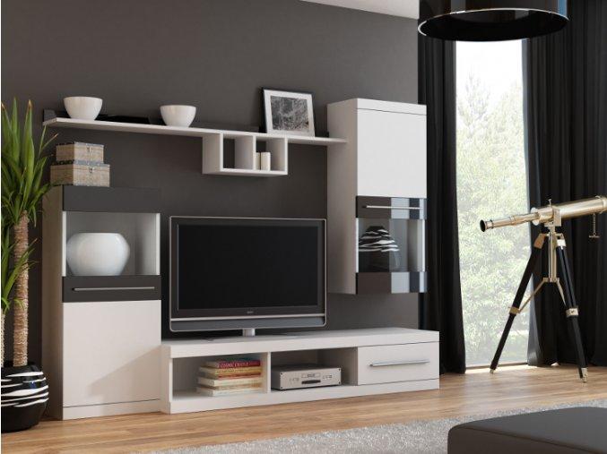 Moderní obývací stěna NICK Bílá / Bílá + Černý lesk