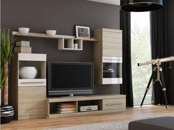 Moderní obývací stěna NICK Dub Sonoma + Bílý lesk