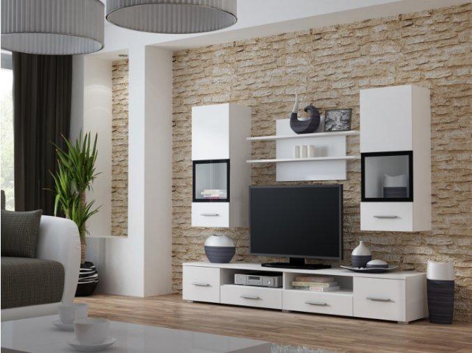 Moderní obývací stěna SNOW Bílá / Bílý lesk