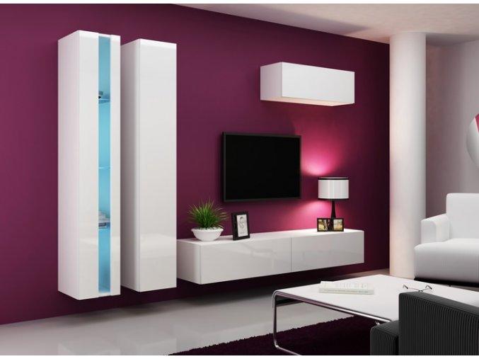 Moderní obývací stěna VIGO NEW 1 Bílá / Bílý lesk
