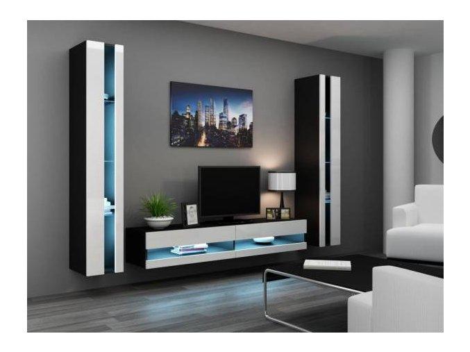 Obývací stěna VIGO NEW 3 Černá / Bílý lesk