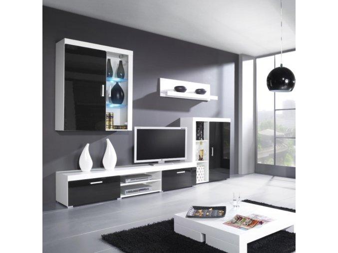 Luxusní nábytek SAMBA II sestava A bílý lesk (LED osvětlení 2 bodové RGB +750 Kč, Barevné provedení Samba II Bílý/Černý lesk)