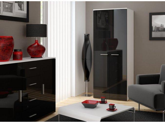 Šatní skříň 2D CAMA A Bílá / Černý lesk
