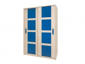 BR1 Posuvná skříň BREGI (Barevné provedení Bregi Jasan/Modrá)
