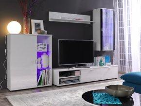 Elegantní obývací stěna LOCO 1 (BARVA LED OSVĚTLENÍ RGB +820)