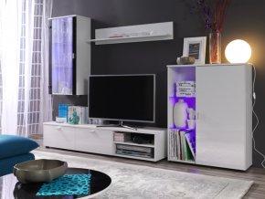 Moderní obývací stěna LOCO 3 (BARVA LED OSVĚTLENÍ RGB +820 Kč)