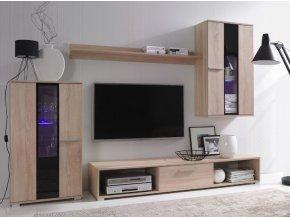 Elegantní obývací stěna RICO 4 (BARVA LED OSVĚTLENÍ RGB +750 Kč)
