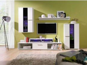 Levná obývací stěna ROCO 2 (BARVA LED OSVĚTLENÍ RGB +890 Kč)