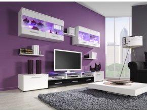 Moderní obývací stěna CAMA 1A Bílá / Černý lesk