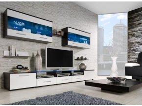 Elegantní obývací stěna CAMA 1D Wenge / Bílý lesk