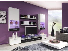 Luxusní obývací stěna CAMA 2A Bílá / Černý lesk