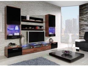 Elegantní obývací stěna CAMA 2C Švestka / Černý lesk