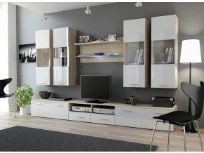 Moderní obývací stěna DREAM 1E Dub Sonoma / Bílý lesk