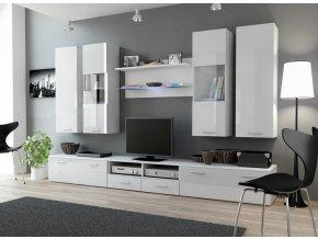 Bílá obývací stěna DREAM 2A Bílý / bílý lesk (BARVA LED OSVĚTLENÍ RGB +820)