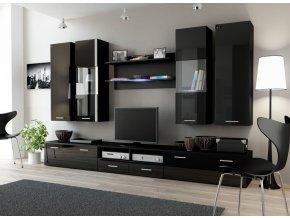 Stylový nábytek do obýváku DREAM 2D Černý / Černý lesk
