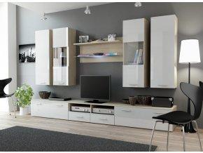 Moderní obývací stěna DREAM 2E Dub Sonoma / Bílý lesk
