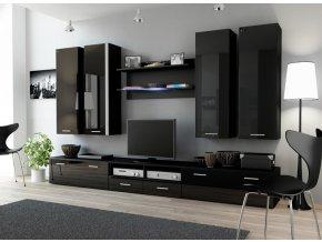 Moderní obývací stěna DREAM 3D Černá / Černý lesk