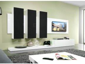 Elegantní obývací stěna LIFE B Bílá / Černý lesk