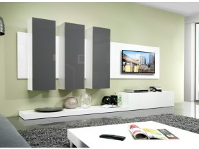 Moderní obývací stěna LIFE C Bílá / Šedý lesk