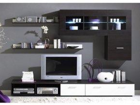 Moderní obývací stěna LOGO 1A Wenge / Bílý lesk