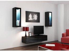Luxusní obývací stěna VIGO 8 Černý / Černý lesk (Barevné provedení VIGO 8D, BARVA LED OSVĚTLENÍ modrá +998Kč)