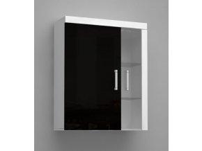SM4 Závěsná vitrína ze sklem Černý lesk SAMBA II (LED osvětlení 2 bodové RGB +750 Kč, Barevné provedení Samba II Bílý/Černý lesk)
