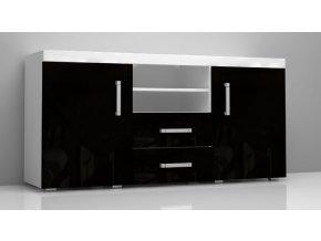 SM5 Komoda 2D se zásuvkami Černý lesk SAMBA II