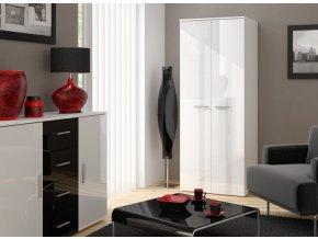 Moderní šatní skříň 2D CAMA B Bílá / Bílý lesk