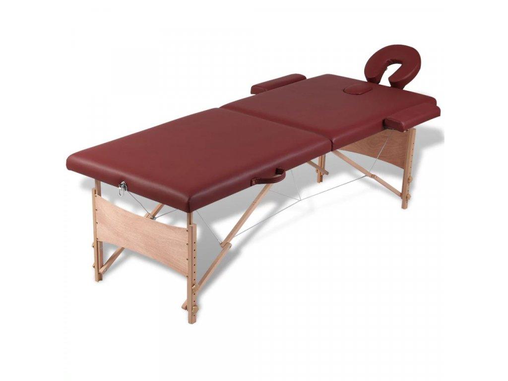 Červený skládací masážní stůl se 2 zónami a dřevěným rámem