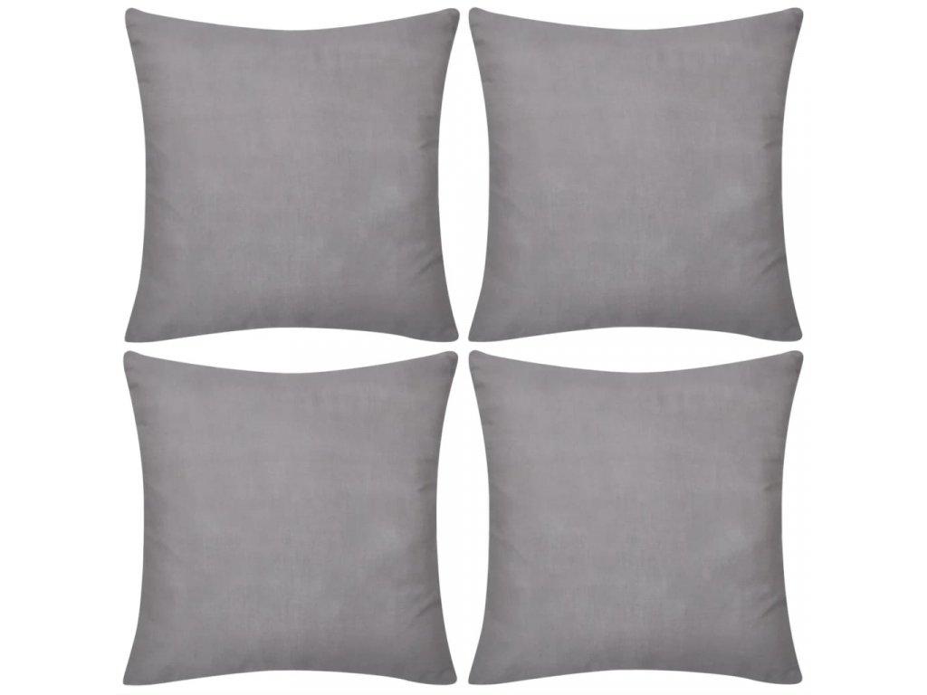 4 šedé povlaky na polštářky 50 x 50 cm