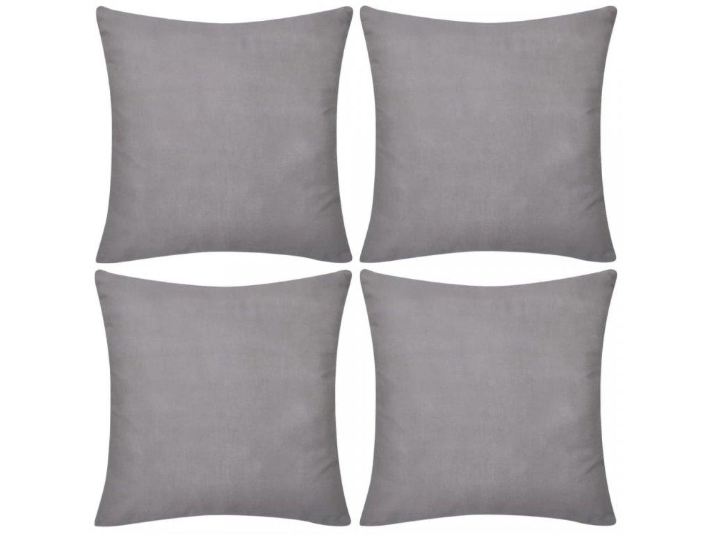 4 šedé povlaky na polštářky 40 x 40 cm