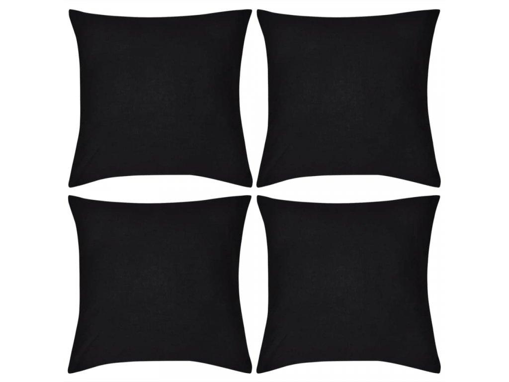 4 černé povlaky na polštářky bavlna 50 x 50 cm
