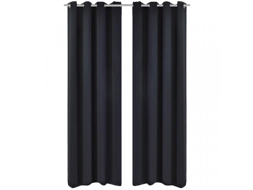 2 ks černé zatemňovací závěsy s kovovými kroužky 135 x 245 cm