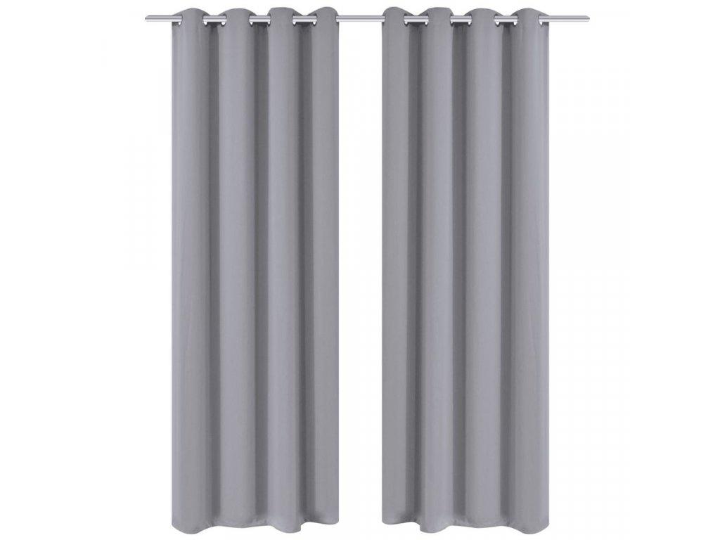 2 ks šedé zatemňovací závěsy s kovovými kroužky 135 x 245 cm