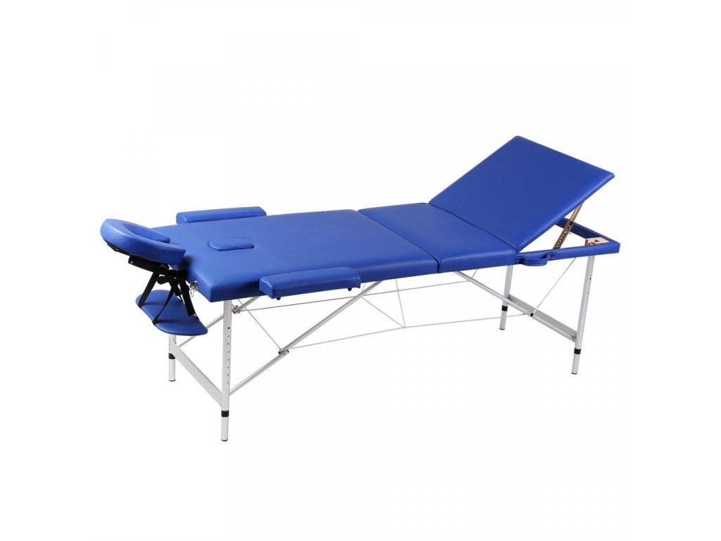 Modrý skládací masážní stůl se 3 zónami a hliníkový rám