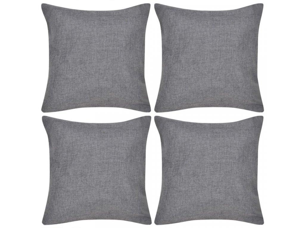 4 antracitové povlaky na polštářky, se vzhledem lnu 80 x 80 cm