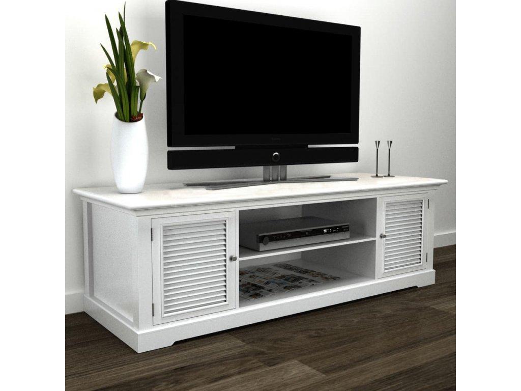 Bílý dřevěný stolek pod televizi