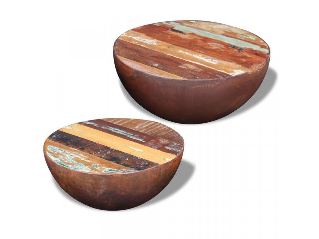 Dva miskovité konferenční stolky z masivního recyklovaného dřeva