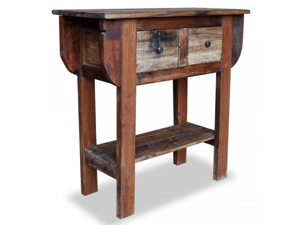 Odkládací stolek z masivního recyklovaného dřeva 80x35x80 cm