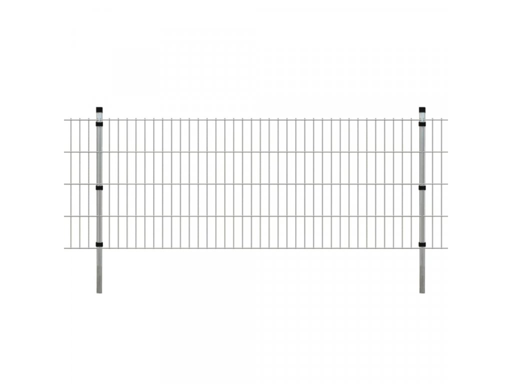 2D Zahradní plotové dílce a sloupky 2008x830 mm 6 m stříbrné