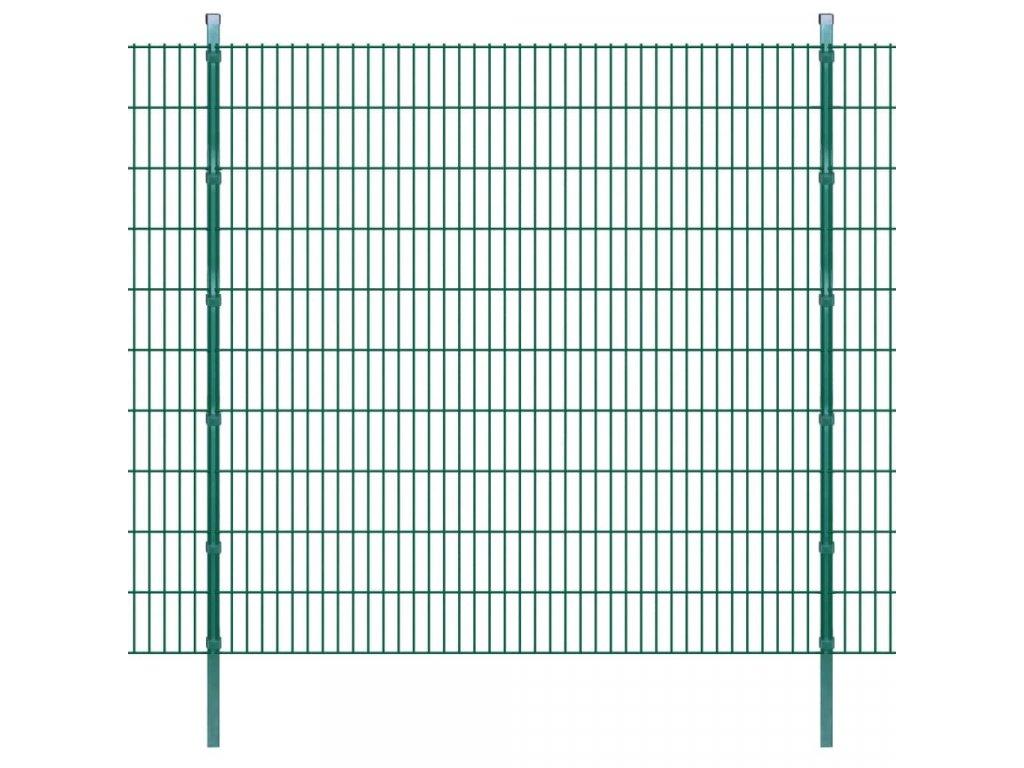 2D zahradní plotové dílce a sloupky 2008x2030 mm 6 m zelené